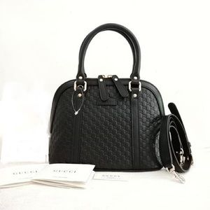 New Gucci Guccissima Dome Sling Handbag Black Gold